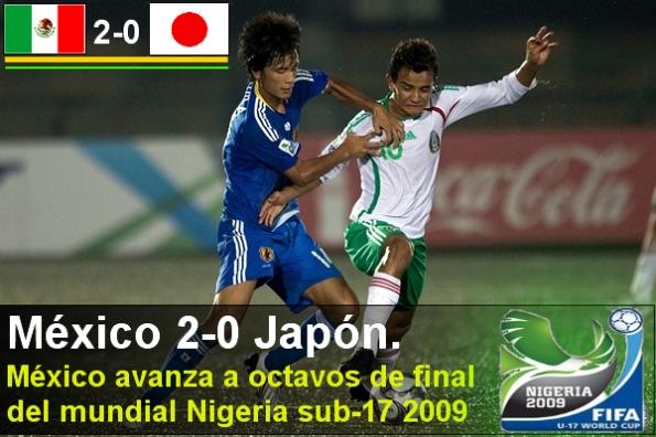 México 2-0 Japón. México avanza a octavos de final del mundial Nigeria sub-17 2009